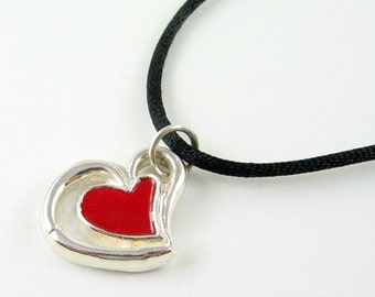Fine Silver and Enamel Heart Pendant