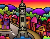 Machynlleth - colourful fine art giclee print by Amanda Hone