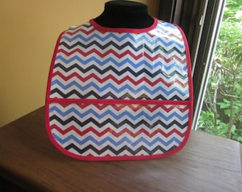 WATERPROOF WIPEABLE Baby to Toddler Plastic Coated Bib Red, White, and Blue Chevron