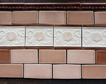 Shell and Ribbon tiled backsplash for Beach house or Tiny House