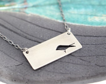 A Little Bird rectangle bar hand pierced sterling silver pendant
