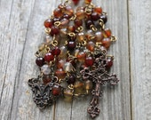 Red Agate Chain Rosary with Antiqued Copper Crucifix and Centerpiece (Fair Trade Beads)