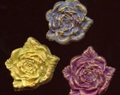 Lot of 3 Polymer Rose Cabs Undrilled RCL 2