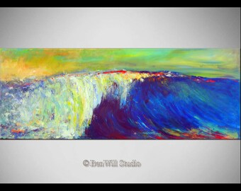 "52"" Seascape Abstract Art Painting Wave Original Artwork by BenWill"