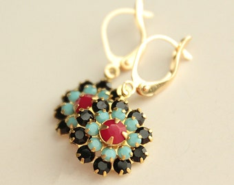Swarovski Crystal Earrings - Flower Shape - Black, Red, Turquoise - Brass - Gold Plated Leverback Earwires