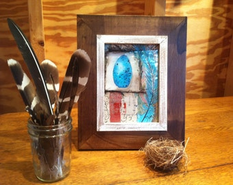 Bluebird Egg and Feather Mixed-Media