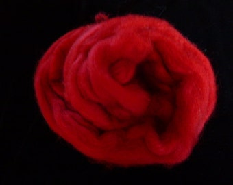 Corry X Hand Dyed Top for Felting Needle Felting Spinning Red One Ounce