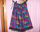 Rainbow Zebra Print Toddler Dress or Girl's Tunic Top ONE SIZE Fits All from 18 months to girl's 10