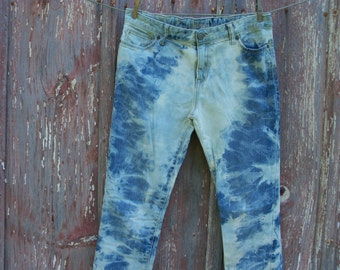 Girls Size 16 plus Bleach Tie Dyed Jeans