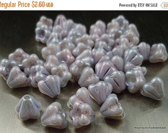 25% OFF Sale 50 Czech Glass Baby Bell Flowers Opaque Amethyst Luster Picasso 4x6mm (G - 299)
