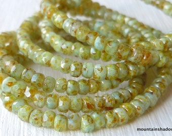 Czech Glass Beads 2x3mm Faceted Rondelle  Pale Turquoise Picasso
