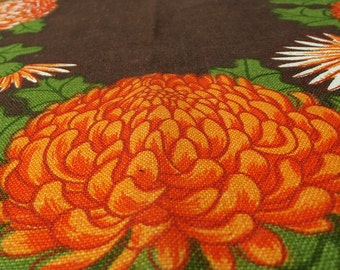 Vintage Kitsch Tea Towel - Brown with Orange and Red Flowers 70s Psychedelic Tea Towel