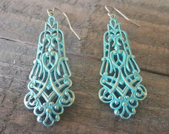 Verdigris Filigree Earrings, Turquoise Brass Earrings