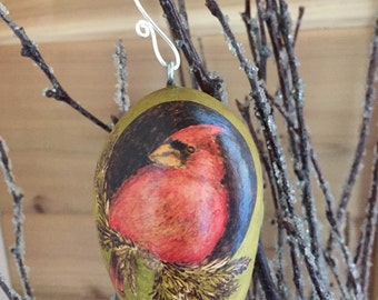 Winter Bird Cardinal Christmas Tree Ornament egg gourd