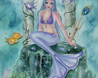 open edition aceo trading card print mermaid atlantis 2.5x3.5 inches by renee
