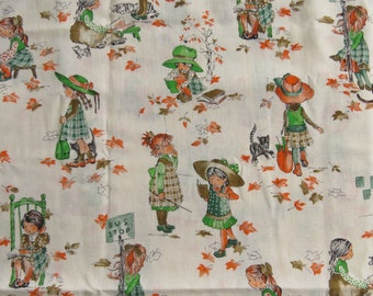 "Holly Hobbie Vintage Cotton Fabric Remnant 1 yard 22"" Free Shipping"