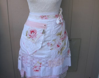 Womens Aprons - Pink Chic Aprons - Cottage Chic Aprons - Pink Roses and Lacy Aprons - Handmade Vintage Inspired Aprons - Annies Attic Aprons