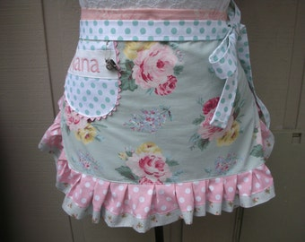 Womens Pink Rose Aprons - Monogrammed Aprons - Shabby Chic Aprons - Pink Handmade Aprons - Cottage Chic Aprons - Annies Attic Aprons