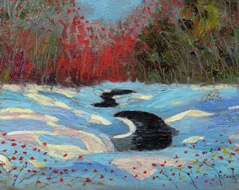ORIGINAL PAINTING, Sunlight in Mill Creek Snowbanks, by DM Laughlin