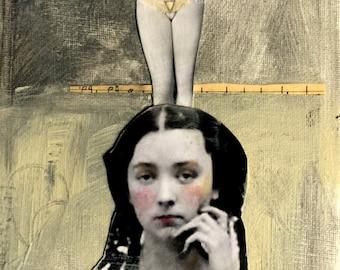 Carnival circus performers woman acrobat  original vintage painting