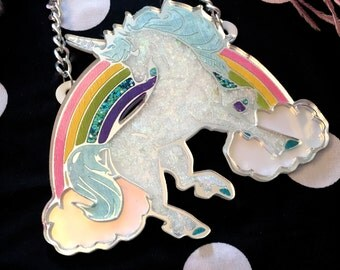 Magical Unicorn Glitter Acrylic Necklace