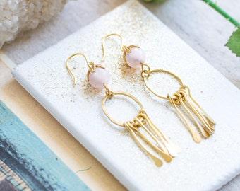 Pink Quartz Paddle Chandelier Earrings, Pink Quartz earrings