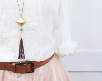 Square Pendant and Blue Quartz Tassel Necklace, Tassel and Gemstone Necklace