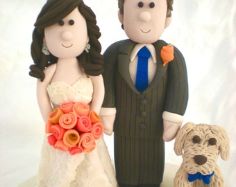 Custom Wedding Cake Topper with Dog, Dog Wedding Cake Topper, Doggy Cake Top, Wedding Figurines, Bride and Groom Cake Top, Puppy cake top