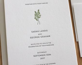 Botanical Letterpress Wedding Invitation - Maidenhair Fern - elegant, tasteful, simple Letterpress Wedding Invitation