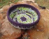 EGGPLANT PESTO  Textile  art BASKET  BoWL