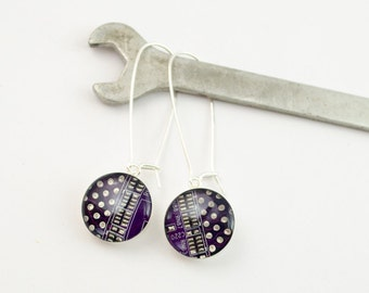 Purple Recycled Circuit Board Earrings - Sterling Silver Dangle Earrings - Nerdy Earrings - Engineer Earrings