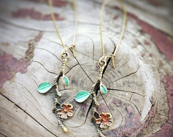 Flower Branch Earrings, hand painted
