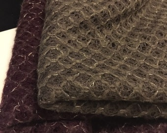 Crochet Sweater Knit Fabric with woven Gold  Metallic 1 Yard
