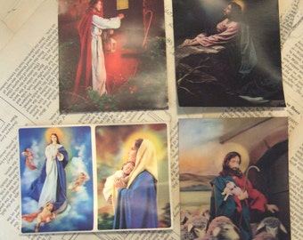 4 hologram RELIGIOUS Jesus Postcards