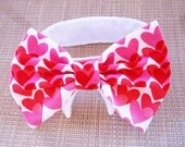 Dog Bow Tie Red and Pink hearts for Valentines Day Dog Clothes