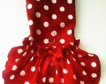 Dog Dress Harness Dress Red Polka Dots dog clothes for pugs yorkies chihuahuas   All SIZES