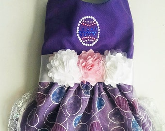 dog clothes Easter Dog Dress Harness crystal Easter egg for a yorkie chihuahua pug or any small dog tiny teacup clothes