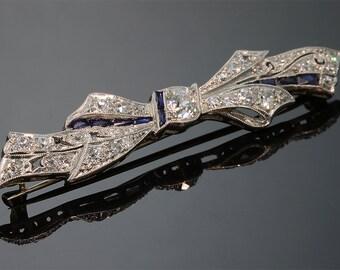 Vintage!! Art Nouveau Period 850 Platinum Diamond Pin