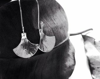 Hammered fan shape Sterling Silver Earrings