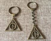 Bronze Deathly Hallows Keychain / Harry Potter Keychain / Deathly Hallows Key Ring / Harry Potter Key Ring / Fandom Keychains / Zipper Pulls