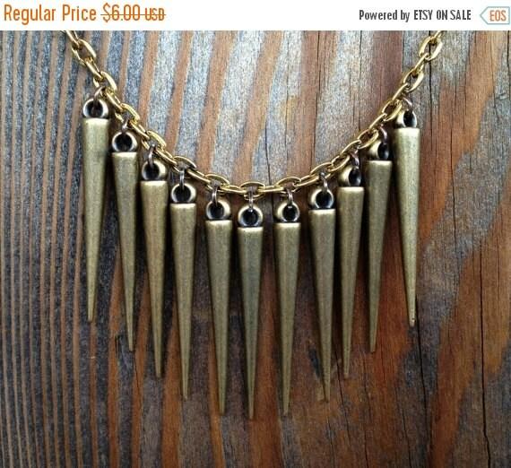 VALENTINES SALE Bronze Spiked Chain Necklace