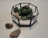 Stained Glass Geometric Planter, Octagon, Home Decor, Indoor Garden Art, Reclaimed Glass, Display Case, Air Plant, Reuse, Terrarium, Diorama