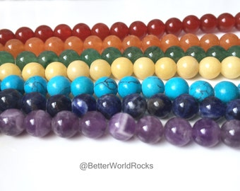 7 Strands of 6mm Chakra Beads!  6 mm Chakra Bead Set, Over 9 Feet of beads! Approx 70 Beads per strand = 490 Beads Total, Gay Pride Beads