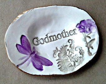 Ceramic Trinket Ring Bowl  edged in gold Godmother  Mothers day