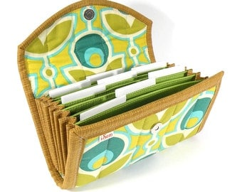 COUPON / EXPENSE / RECEIPT Organizer - Green Mod Floral - Coupon Organizer Coupon Holder Cash Budget Jamberry Receipt Organizer