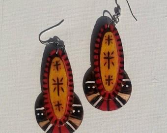 The Cross Wood Burned Yellow Earrings