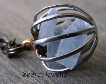 Blue Aventurine Necklace, Raw Crystal Necklace, Gemstone Cage Pendant, Quartz Crystal, Gemstone Jewelry, Natural Stone, Gun Metal Chain