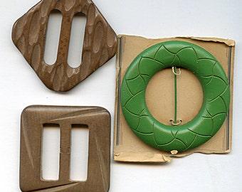 Vintage Wood Carved Belt Buckles Lot of (3) One Piece Large 1600