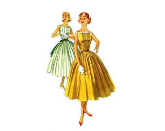 1950s Square Neck Full Skirt Dress Simplicity 2033 Vintage Sewing Pattern Size 14 Bust 34