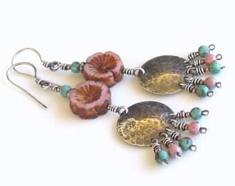 Sterling Silver Earrings Pink Czech Glass Flower Beads Turquoise Gemstones Rhodonite Gemstones Trending Earrings